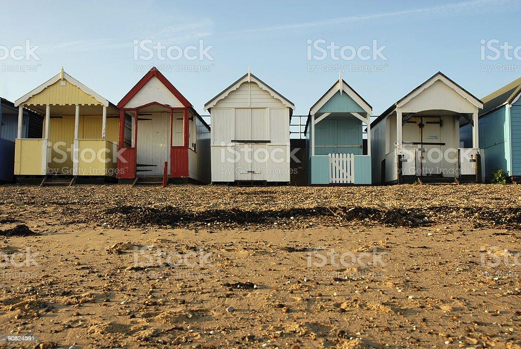Beach Huts Dusk royalty-free stock photo