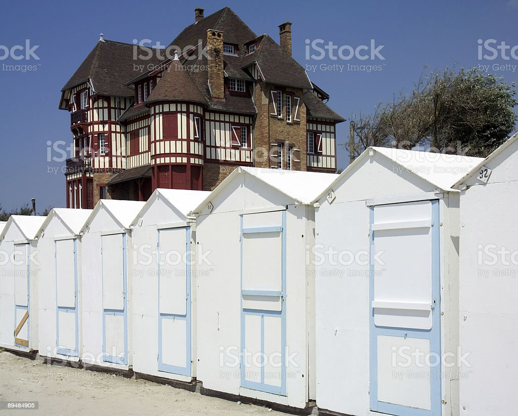 beach huts gothic house stock photo