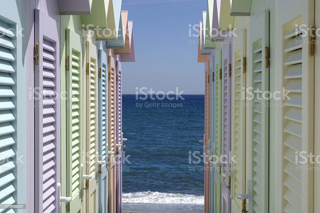 Beach huts III royalty-free stock photo