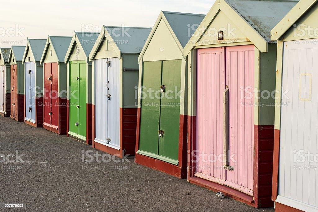Beach huts in a row stock photo