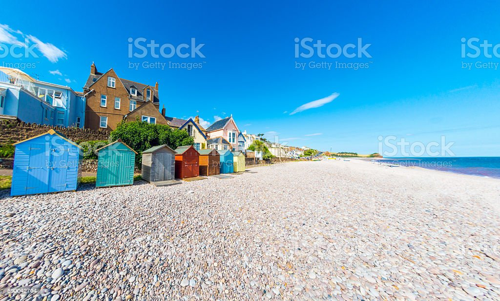 Beach Huts in Budleigh Salterton in Devon stock photo