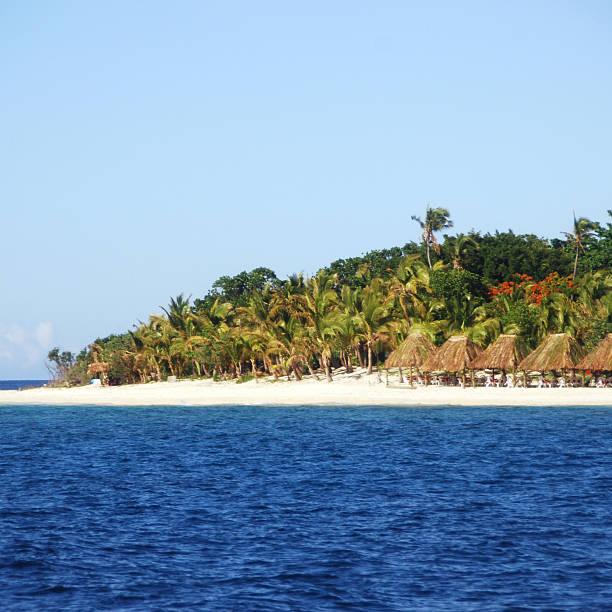 Beach Huts in Fiji stock photo