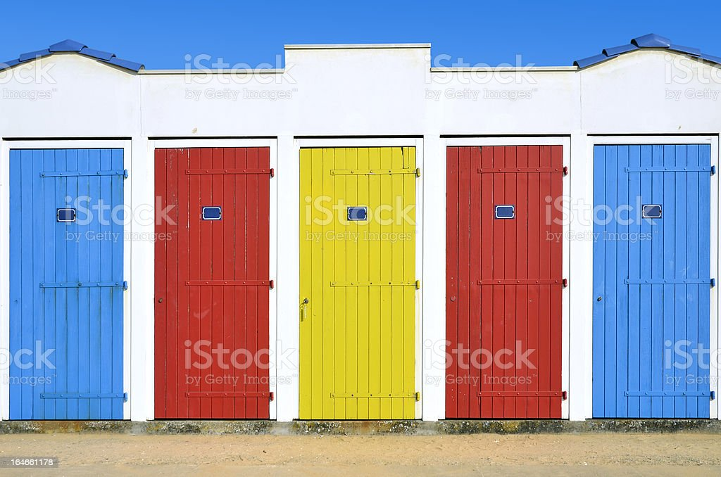 Beach huts in France stock photo
