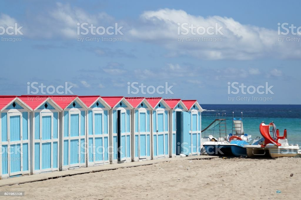 Beach huts in Mondello stock photo