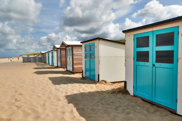 Beach huts in Texel stock photo