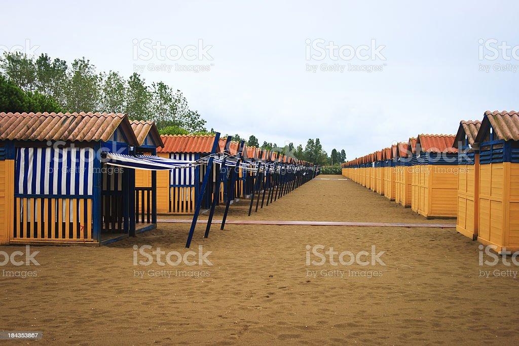 Beach huts, Lido, Venice, Italy royalty-free stock photo