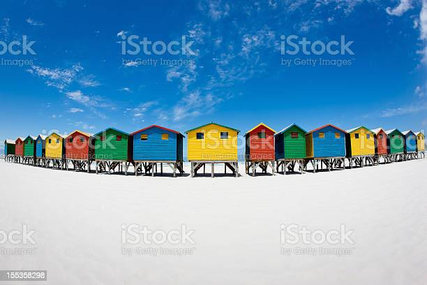 Beach Huts Muizenberg Cape Town South Africa Stock Photo - Download Image Now