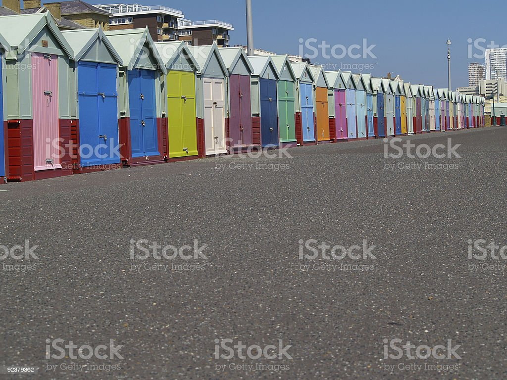 Beach Huts of Brighton. stock photo