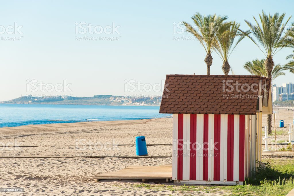 Beach huts on Campello beach stock photo