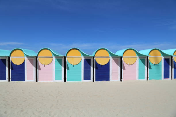 Umkleidekabinen am Strand von Dünkirchen, Frankreich – Foto
