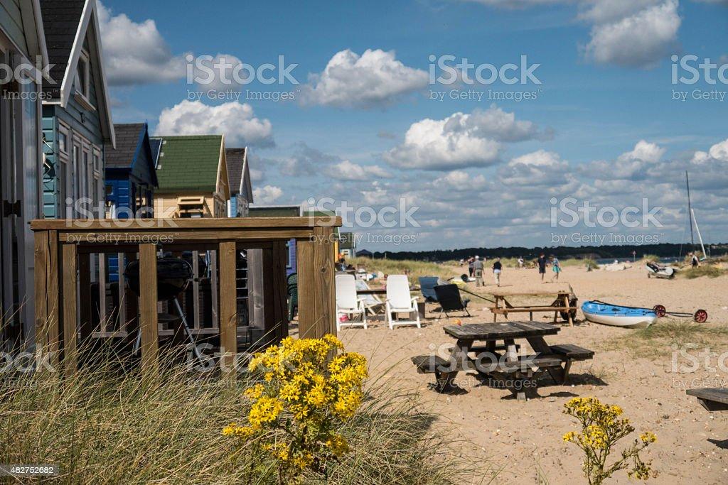 Beach Huts on the Sea Shore stock photo