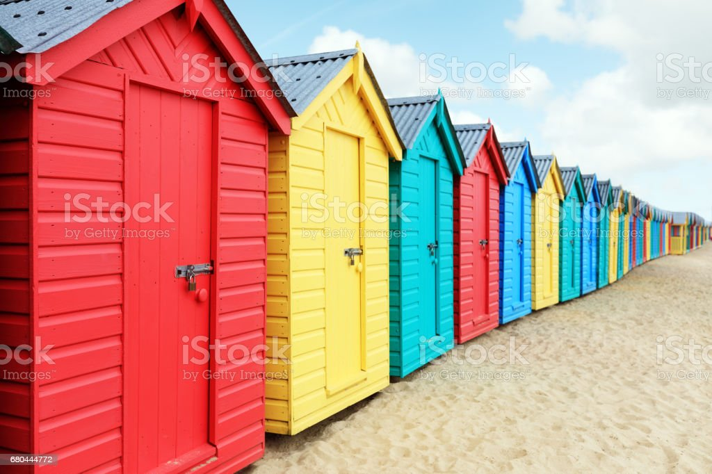 Beach huts or bathing boxes on the beach stock photo