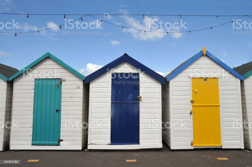 Beach huts or houses with string of lamps royalty-free stock photo