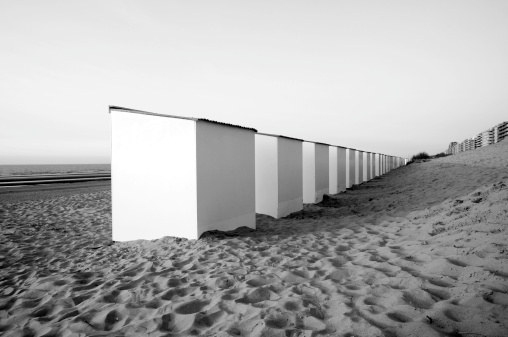 Beach huts perspective