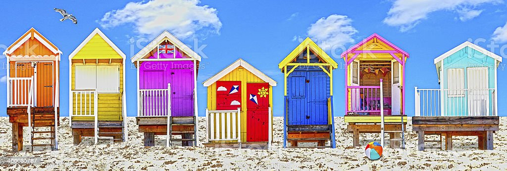 Beach huts UK stock photo