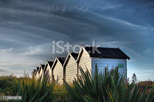 Beach huts at Dawlish Warren, South Devon, England