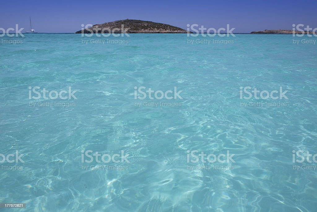 beach Illetas Illetes in Formentera near Ibiza stock photo