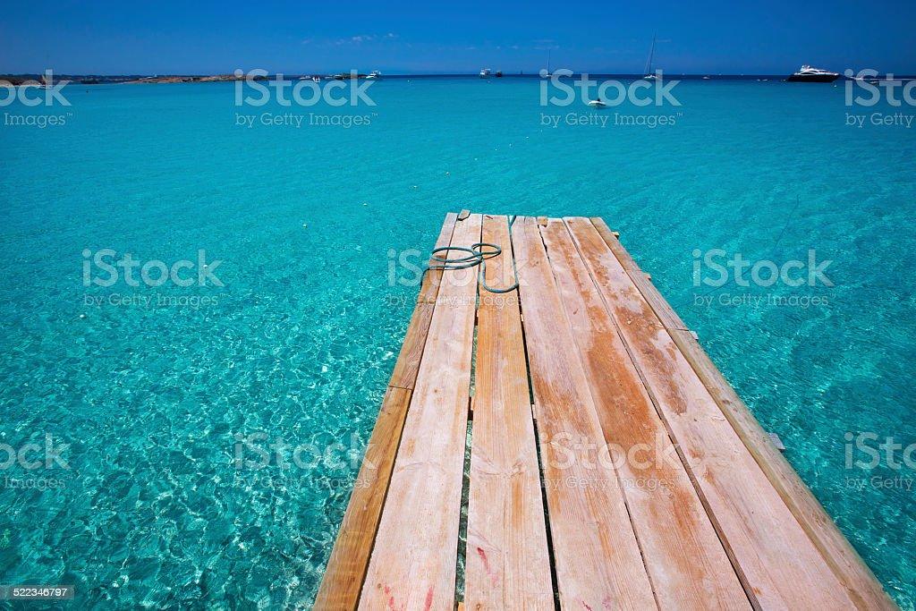 beach Illetas Illetes in Formentera near Ibiza stock photo