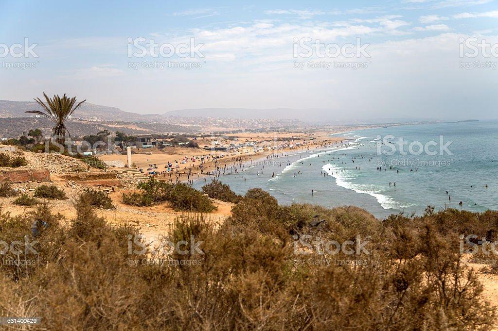 Beach in Agadir, Morocco stock photo