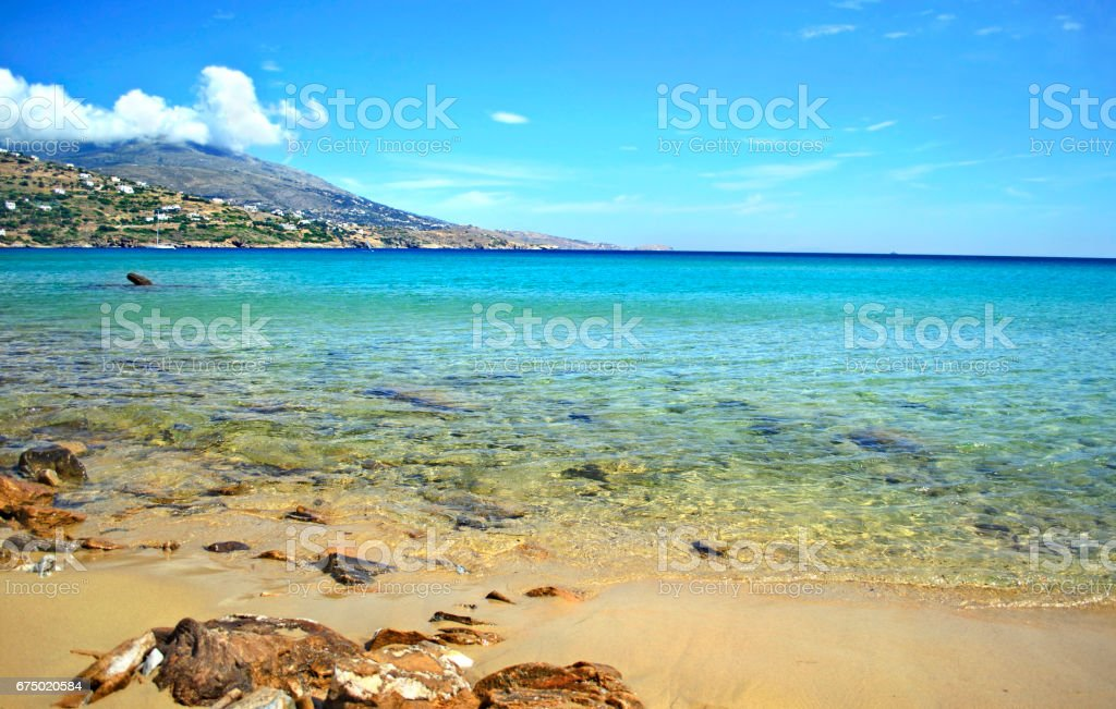 beach in Andros island Greece stock photo