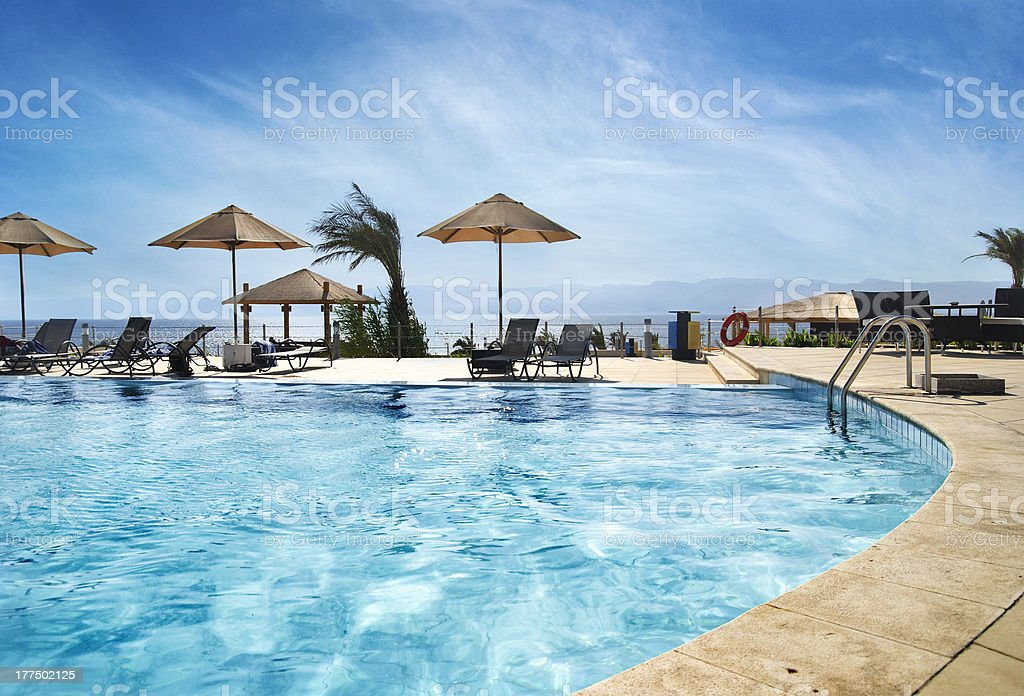 Beach in Aqaba, Jordan stock photo