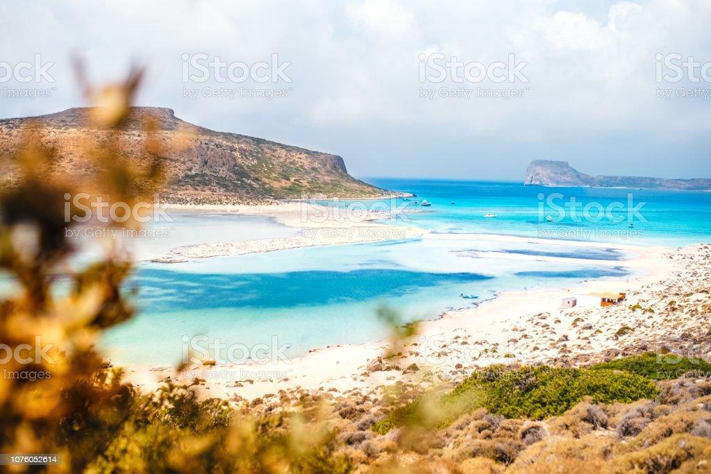 Beach In Balos Lagoon Island On Crete Greece Sunny Day Blue