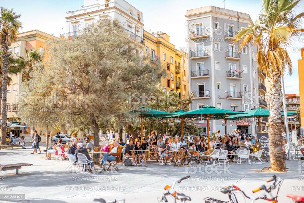 Playa en Barcelona - foto de stock