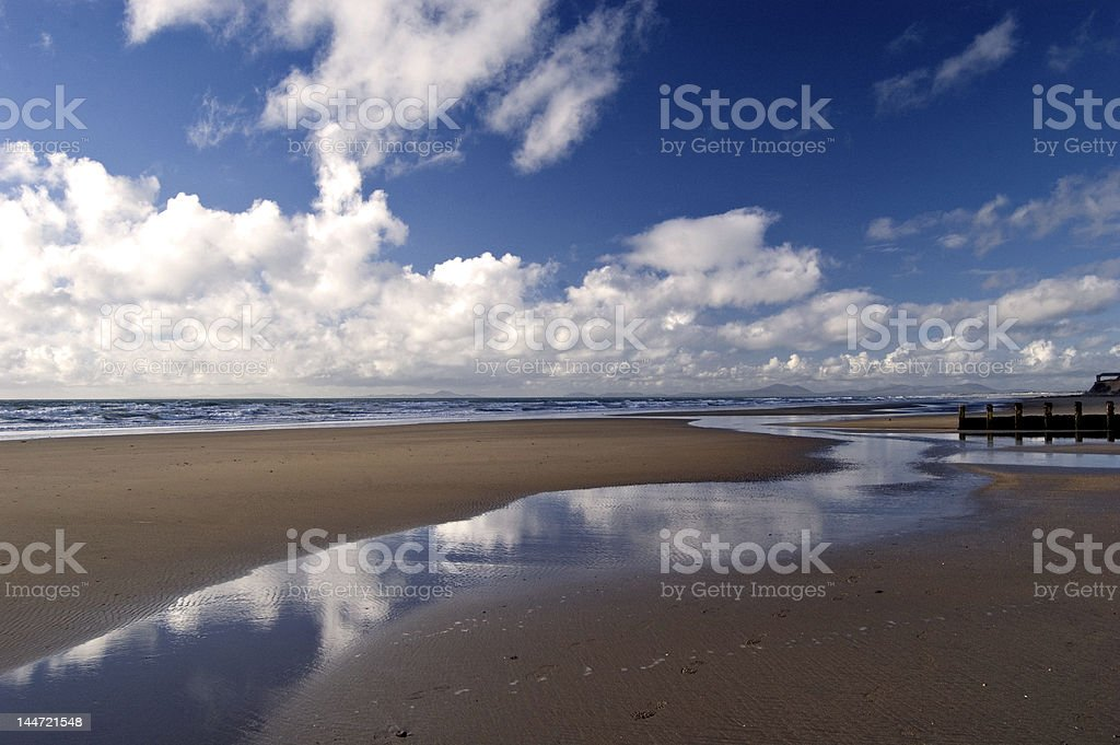 Beach in Barmouth. Wales royalty-free stock photo