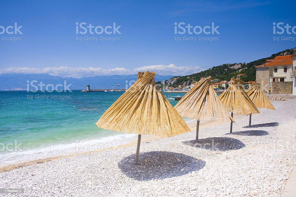 beach in Baska, Croatia stock photo