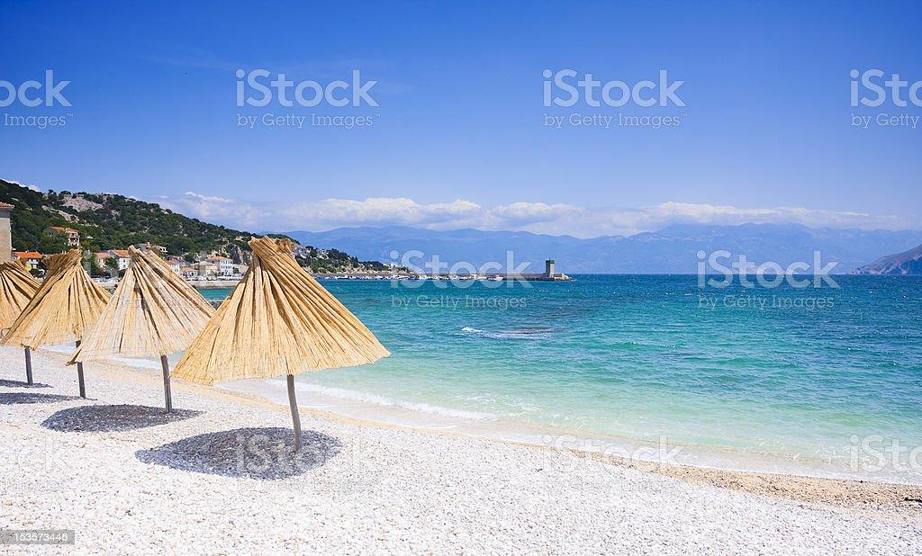 beach in Baska stock photo