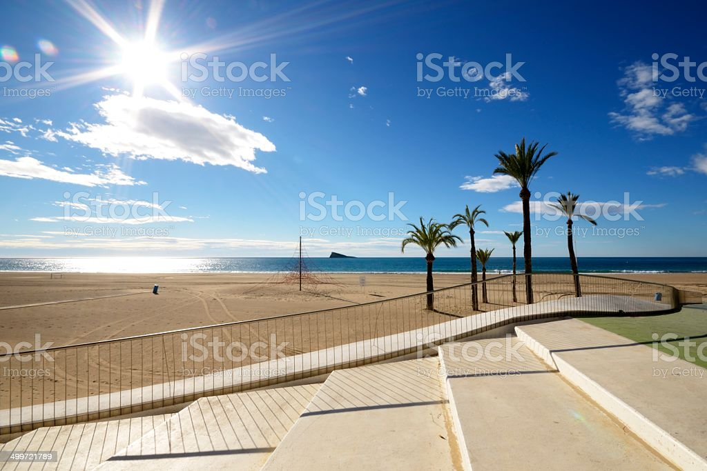 beach in Benidorm stock photo
