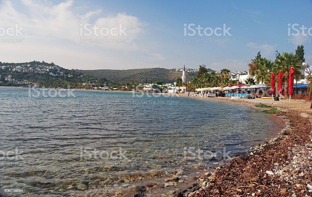 Beach in Bitez, Turkey. stock photo