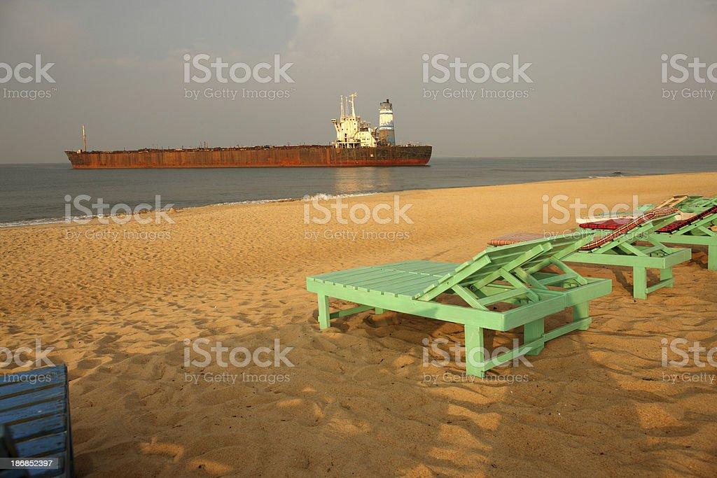 Beach in Candolim stock photo