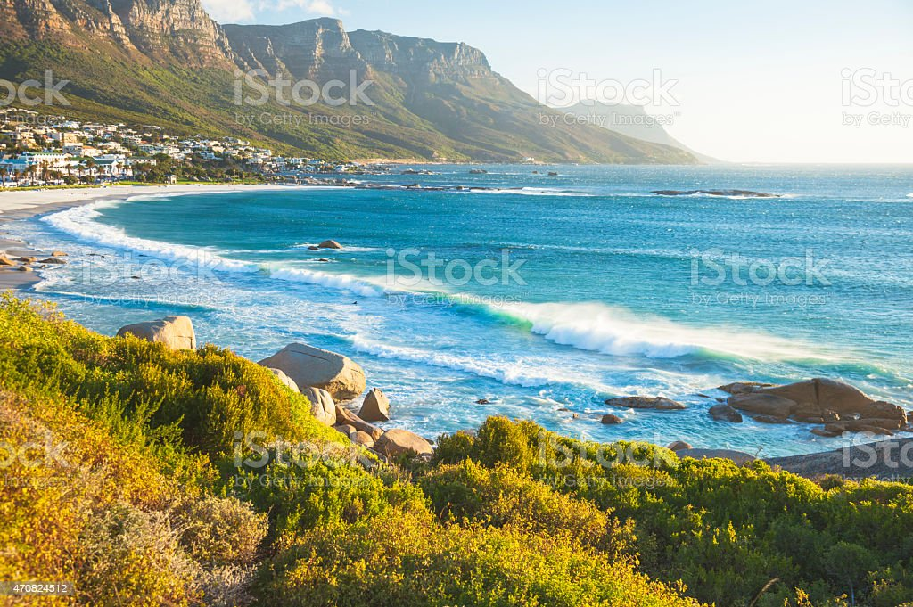 Beach in Capms Bay, Cape Town, South Africa stock photo