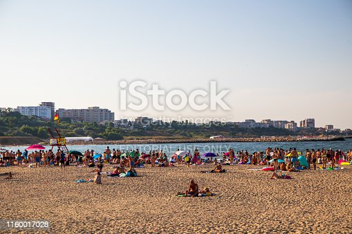 Constanta, Romania - june 16 2019: Public beach in Constanta, popular resort and industry town by the Black Sea in Romania