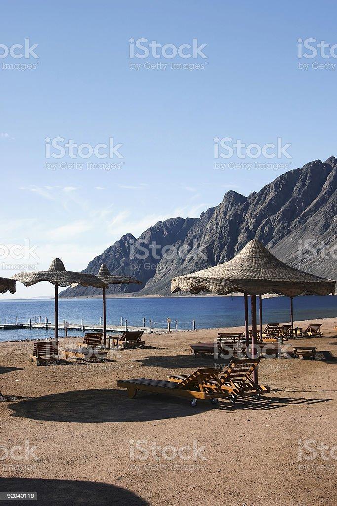 Beach in Dahab Egypt stock photo