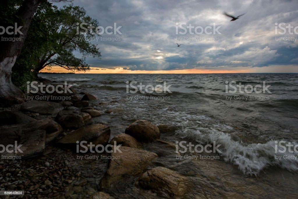 Beach in dusk stock photo