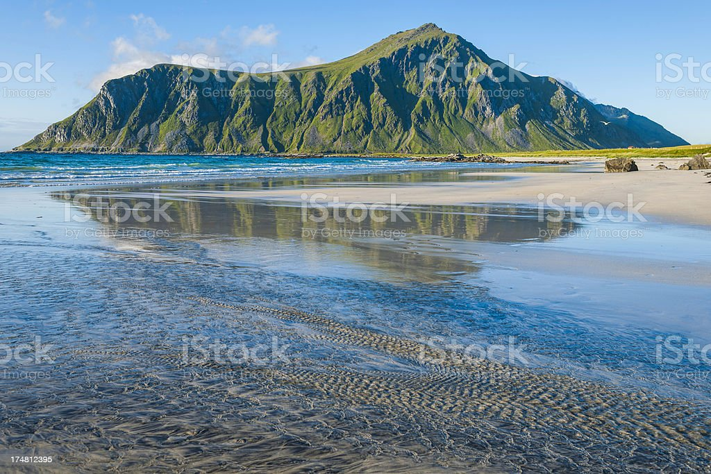 Beach in Flakstad royalty-free stock photo