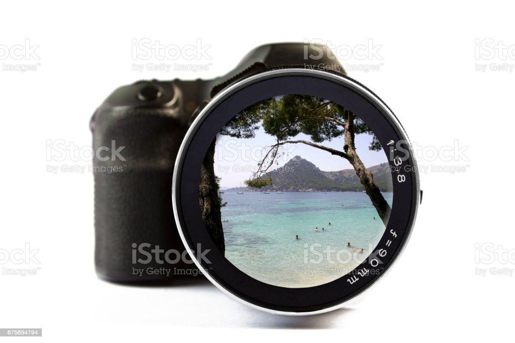 Beach in Formentor, Palma de Mallorca Seen Through a Lens of a Camera royalty-free stock photo