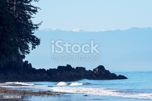 Beach in French Beach Provincial Park at the pacific west coast, Vancouver Island, British Columbia, Canada