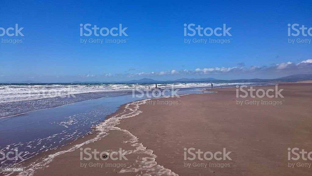 beach in Harlech, Wales stock photo