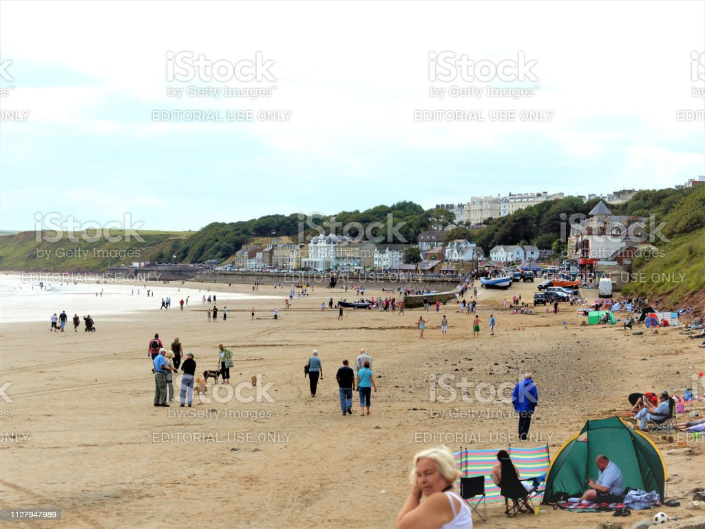 Beach in July, Filey, North Yorkshire, UK. stock photo