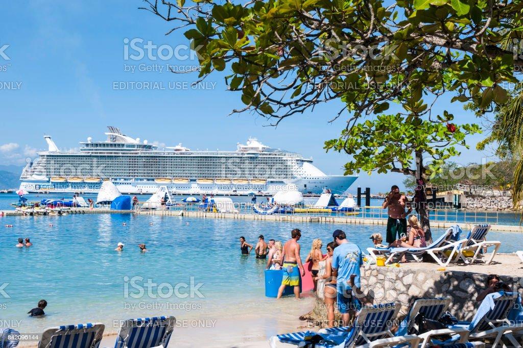 Beach in Labadee Haiti stock photo