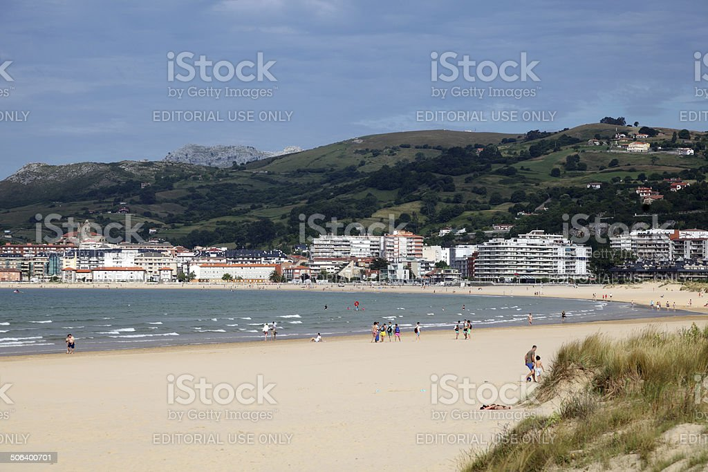 Beach in Laredo, Cantabria, Spain stock photo