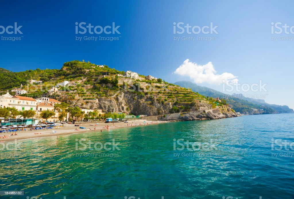 Beach in Minori (Campania, Amalfi Coast,  Italy) stock photo