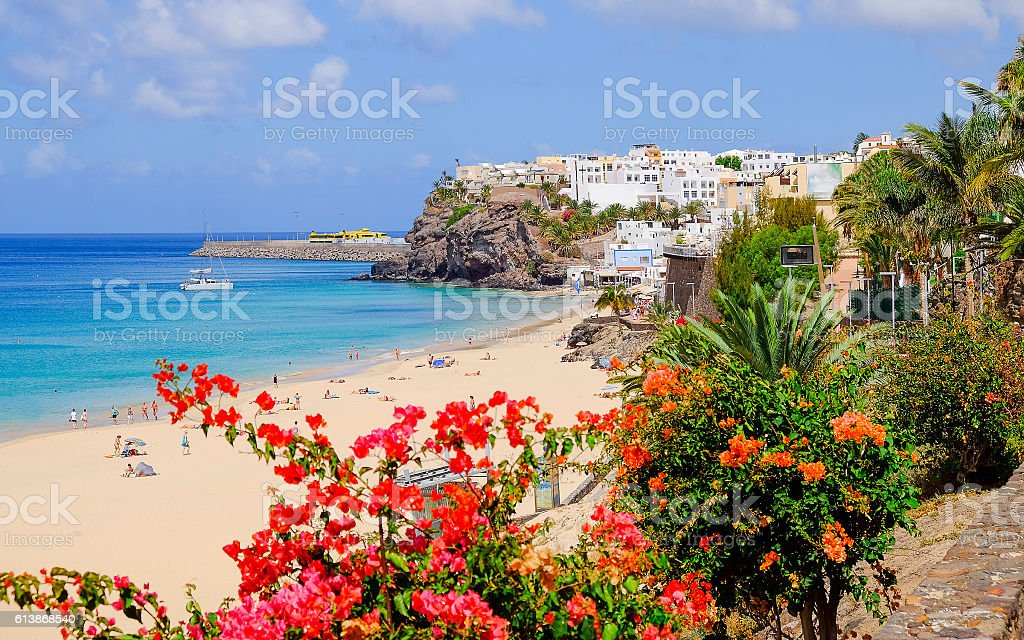 Beach in Morro Jable, Fuerteventura. stock photo