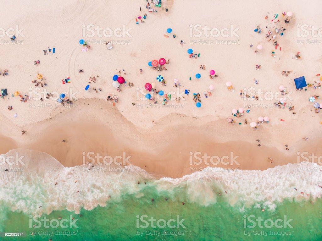 Beach in Rio de Janeiro, Brazil from Above stock photo