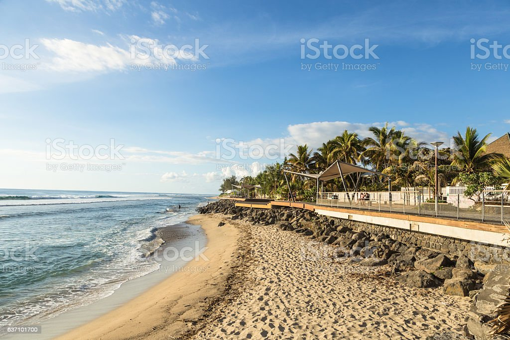 Beach in Saint Gilles in the Reunion island, France stock photo