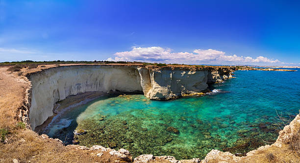 Beach in Sicily - Reserve of the plemmirio in Syracuse stock photo