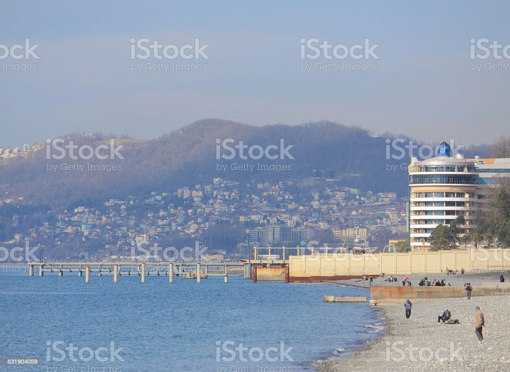 Beach In Sochi Krasnodar Krai Winter Landscape Stock Photo Download Image Now Istock
